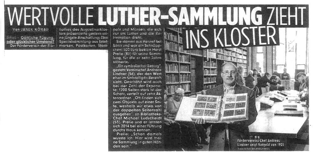 Wertvolle Luther-Sammlung zieht ins Kloster, BILD 13.02.2019
