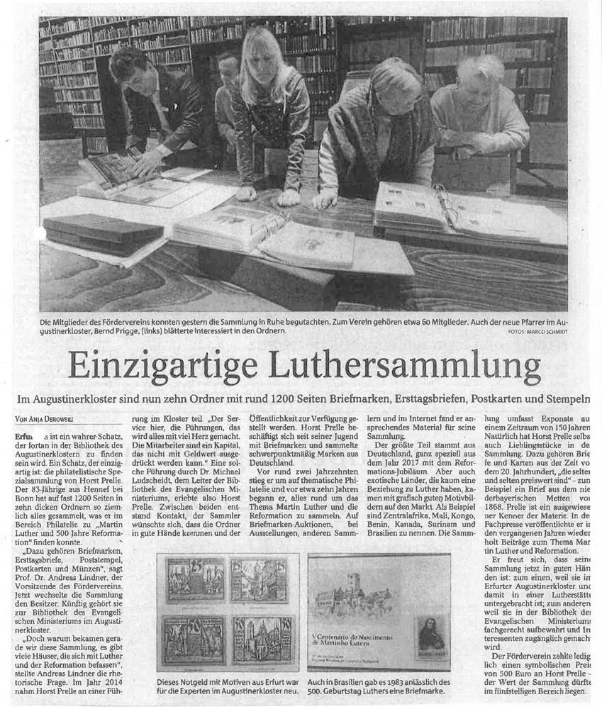 Einzigartige Luthersammlung, Erfurter Allg. 13.02.2019